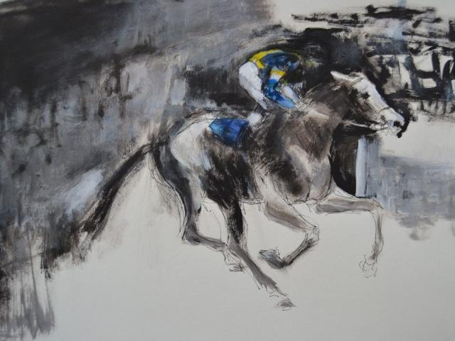 2016 Auf der Rennbahn 11 blau-gelb, Fineliner und Acryl auf Papier  23 x 29