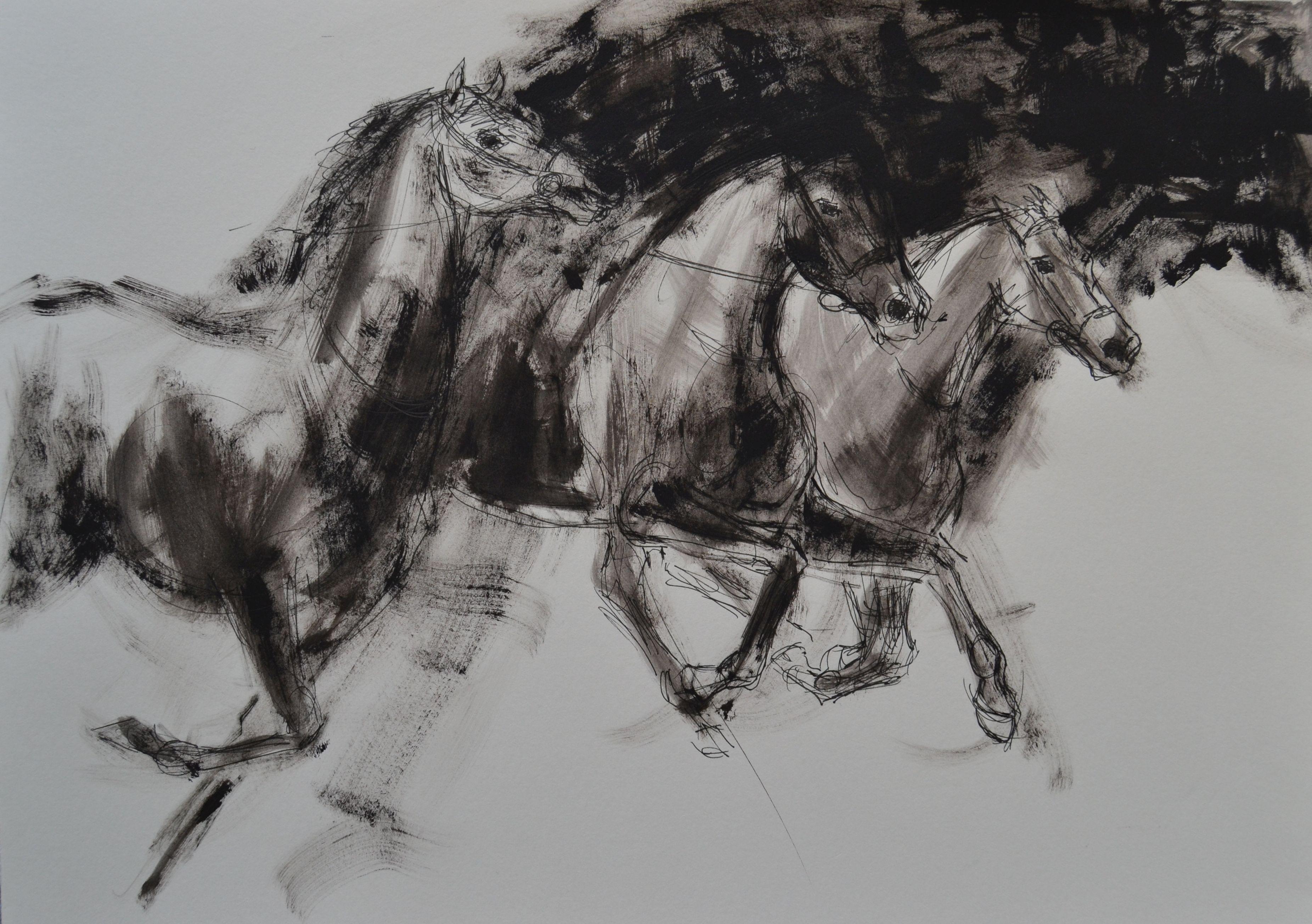 2016 Im Galopp 2, Fineliner und Acryl auf Papier 30 x 40