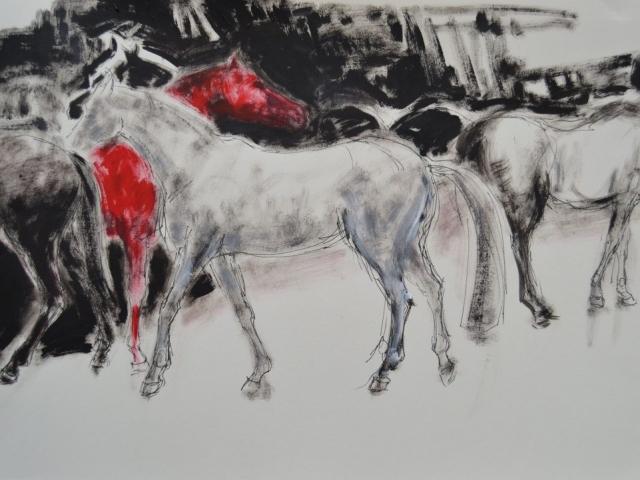 2016 Im Laufstall 2, Fineliner und Acryl auf Papier 30 x 40