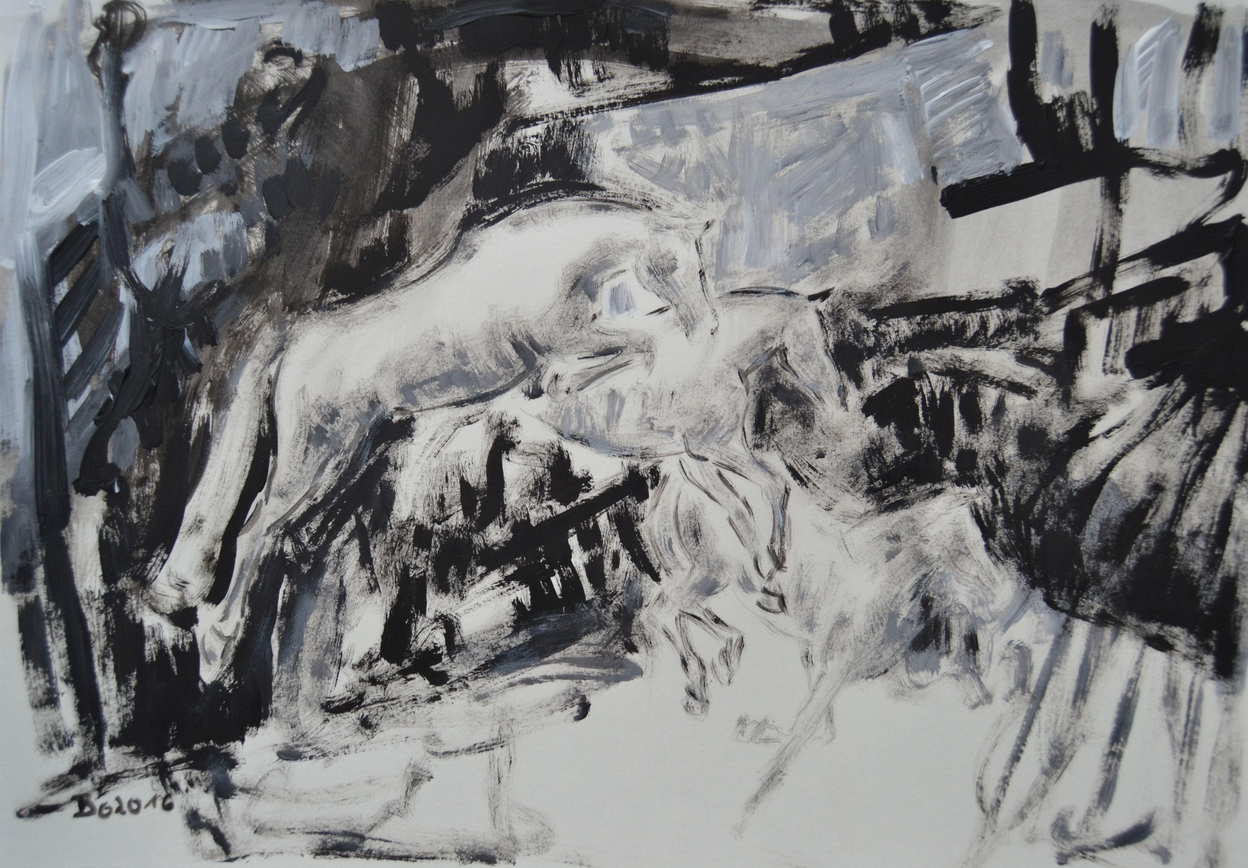 2016 Sprungfolge 4, Acryl auf Papier 30 x 40